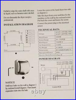 High Speed Commercial Automatic ECO Heavy duty Stainless Steel Hand Dryer