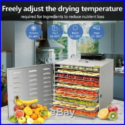 KWASYO 10 Tray 1000W Stainless Steel Food Dehydrator Vegetable Jerky Fruit Dryer