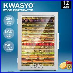 KWASYO Commercial Food Dehydrator 12 Tray Stainless Steel Fruit Meat Jerky Dryer