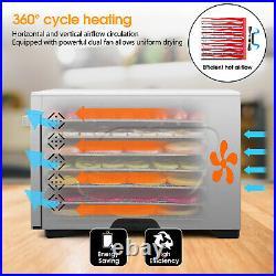 KWASYO Commercial Food Dehydrator 7 Trays Stainless Steel Fruit Meat Jerky Dryer