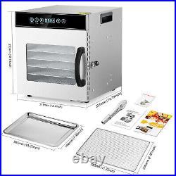 KWASYO Food Dehydrator 6/8/10/12 Trays Stainless Steel Fruit Meat Jerky Dryer US