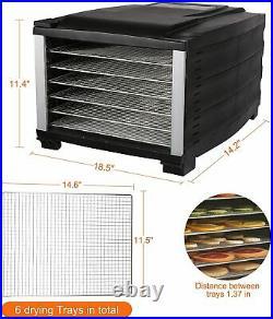 Koreyosh Food Dehydrator Machine with 6 Steel Trays Fruit Meat Dryer LED Display