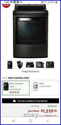LG GAS DLGX7601KE Dryer Black Stainless Steel 7.3-cubic-foot REDUCED TO SELL