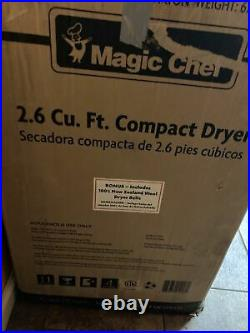 Magic Chef 2.6 Cubic Feet Compact Home Laundry Dryer Machine, White (Open Box)