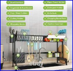 Modern Sink Stand Dish Rack Plate Pans Dryer Storage Hooks Metal Kitchen Holder