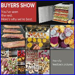 NEW Commercial 10 Tray Stainless Steel Food Dehydrator Fruit Meat Jerky Dryer US