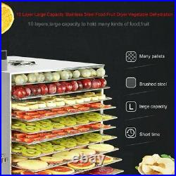 New 10 Layer Household Stainless Steel Food Dehydrator LED Fruit Vegetable Dryer