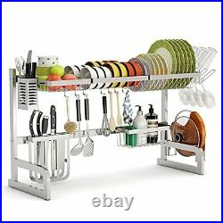 Over The Sink Dish Drying Rack Adjustable 2-Tier Large Dish Dryer Silver