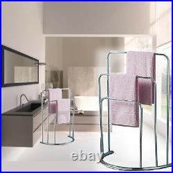 Towel Stand Arm Rac Dryer Standing Chrome 3 Tier K Holder Laundry Bathroom Rail